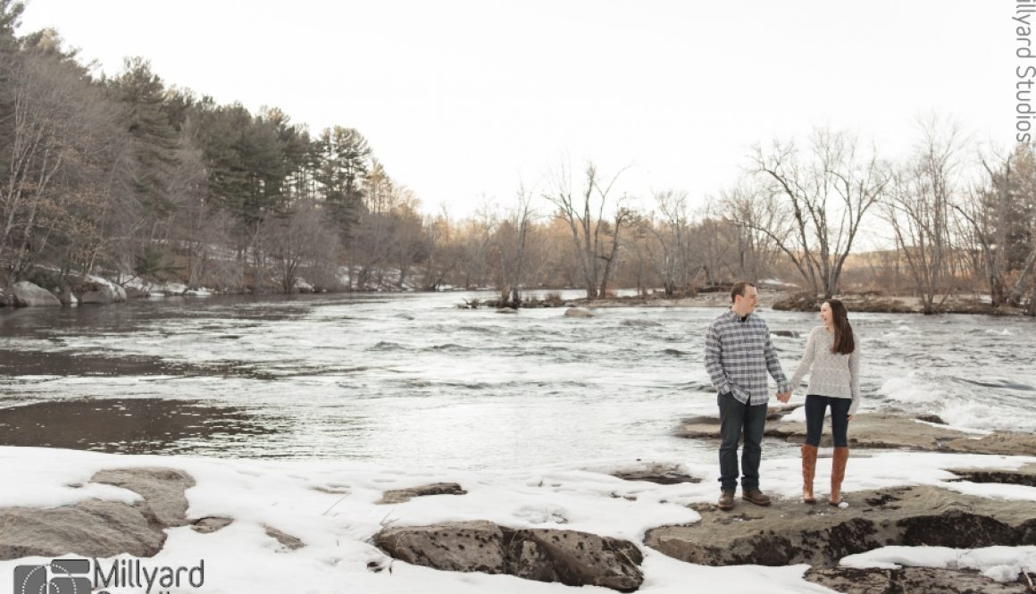 NH Engagement Photographer Millyard Studios Railroad Winter Session 2