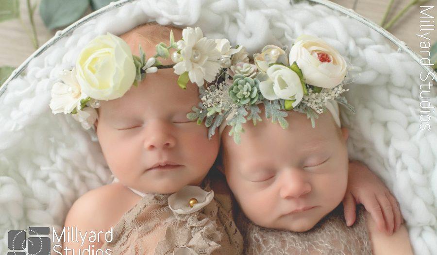 NH Newborn Photographer/ Millyard Studios/ Twin Newborn Girls/